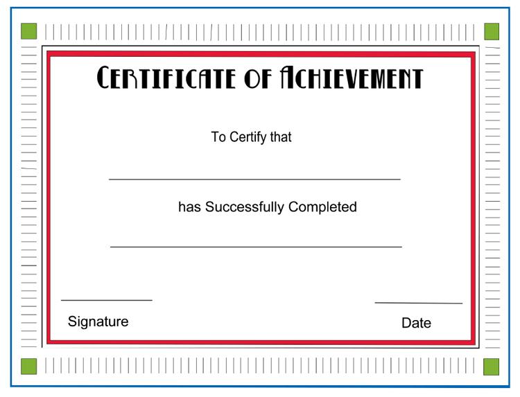 Certificate Of Achievement Templatejpg | Business Plan Template
