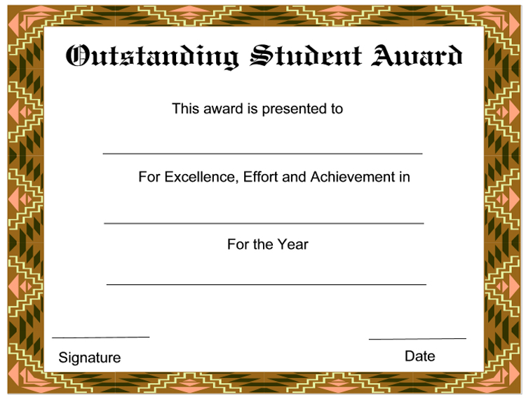 Outstanding student award certificate for Student of the year award certificate templates