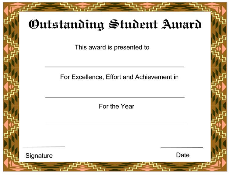 Outstanding Student Award Certificate - CertificateTemplate NET