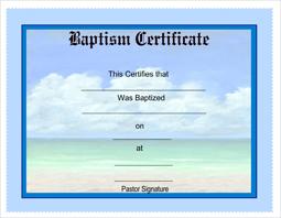 Free Printable Baptism Certificates - CertificateTemplates.NET