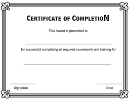 Completion Certificate Template  Certification Of Completion Template
