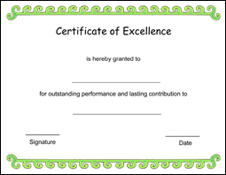 Free printable certificate of excellence template click here to downoad yelopaper Choice Image